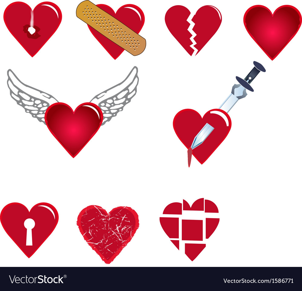 Set of heart shapes vector | Price: 1 Credit (USD $1)