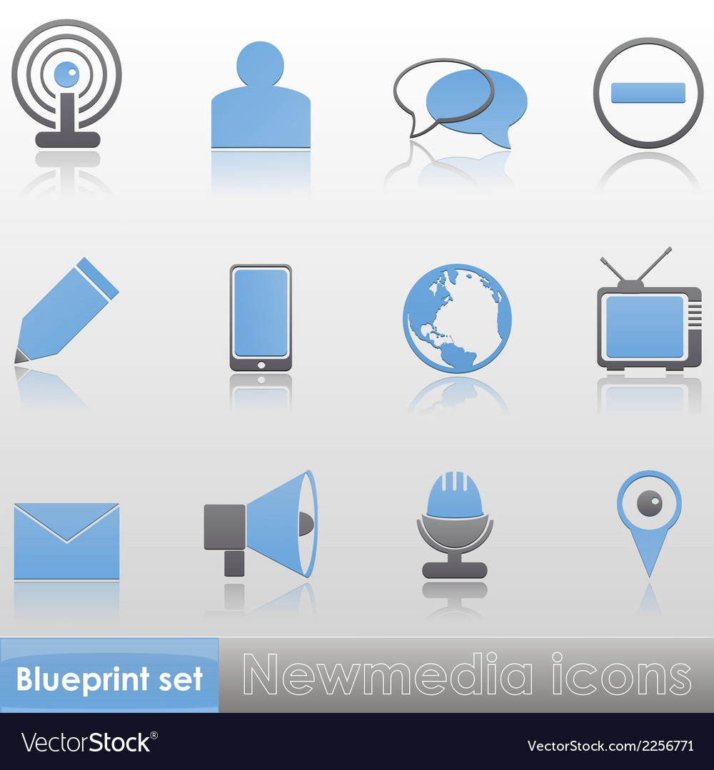 Simple blue-grey new media icon set vector | Price: 1 Credit (USD $1)