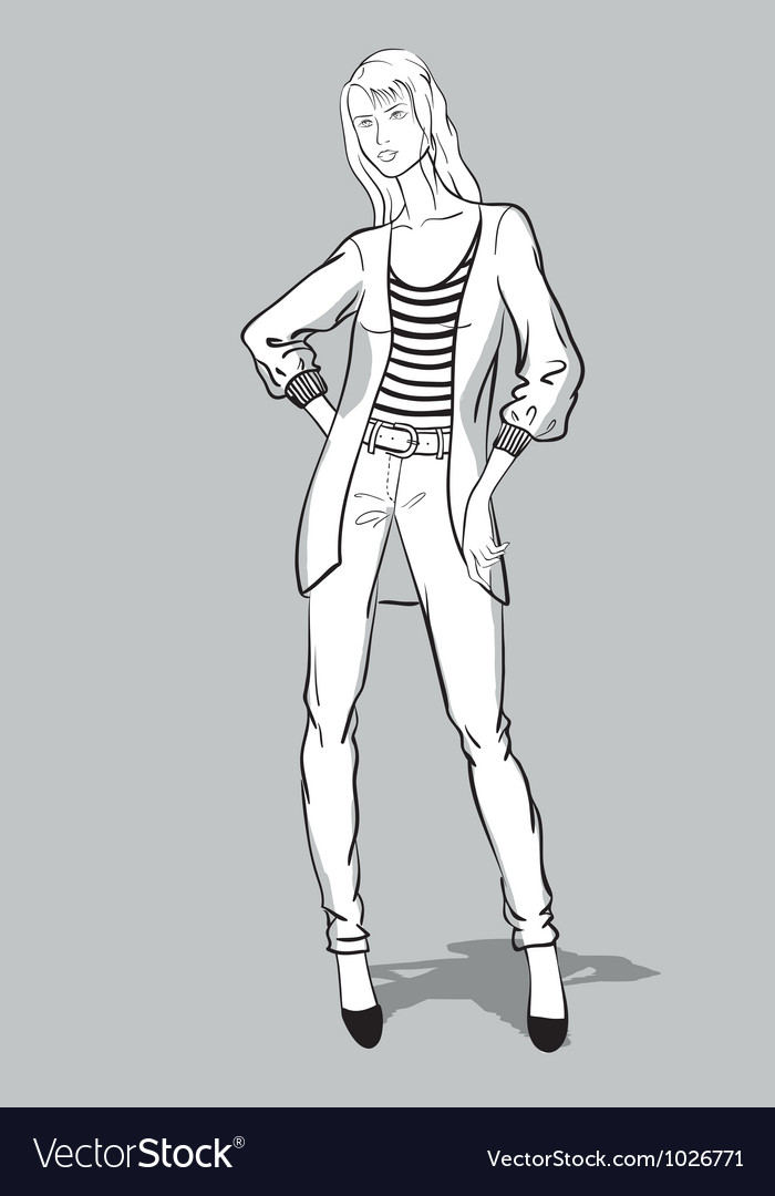 Sketch of girl in jeans and long pullover vector | Price: 3 Credit (USD $3)
