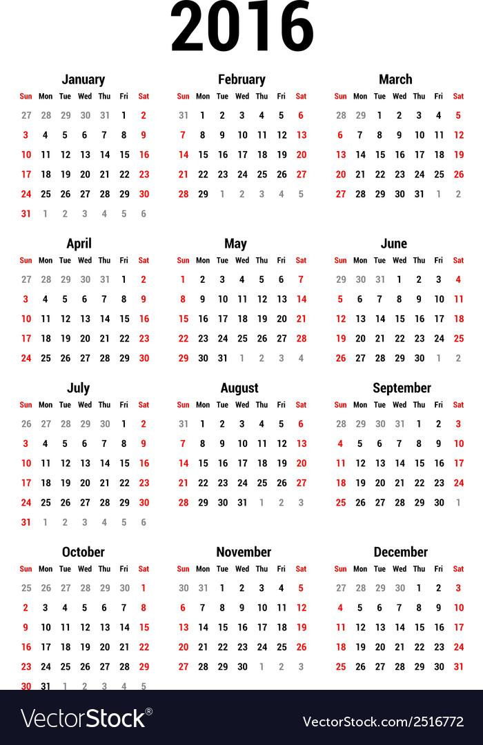 Calendar 2016 vector | Price: 1 Credit (USD $1)