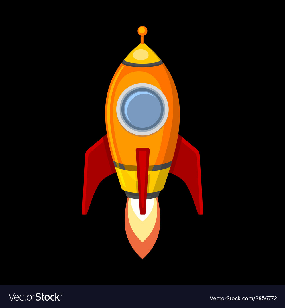 Comic rocket ship in cartoon style isolated on vector | Price: 1 Credit (USD $1)