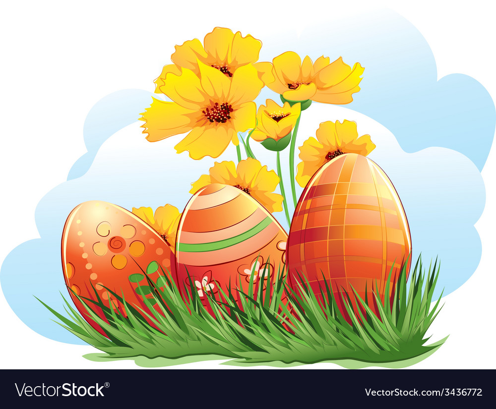 Easter eggs with flowers and grass vector | Price: 3 Credit (USD $3)
