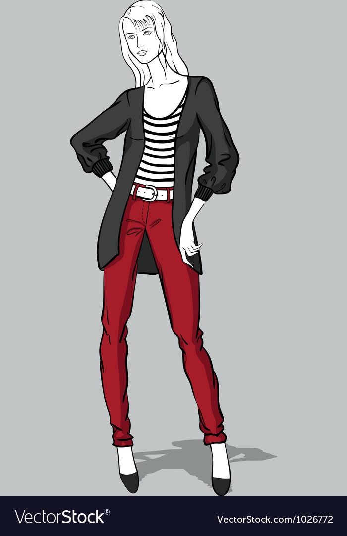Girl in red jeans and long pullover vector | Price: 3 Credit (USD $3)