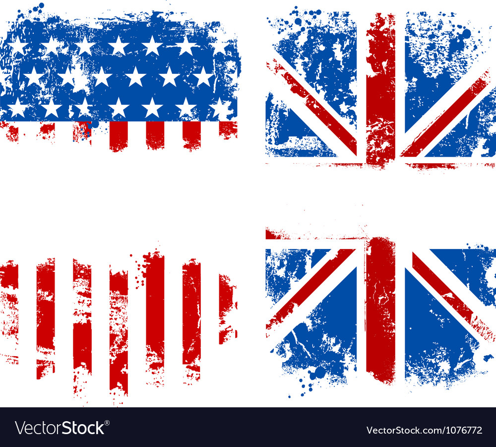 Grunge banners usa and uk national flags vector | Price: 1 Credit (USD $1)