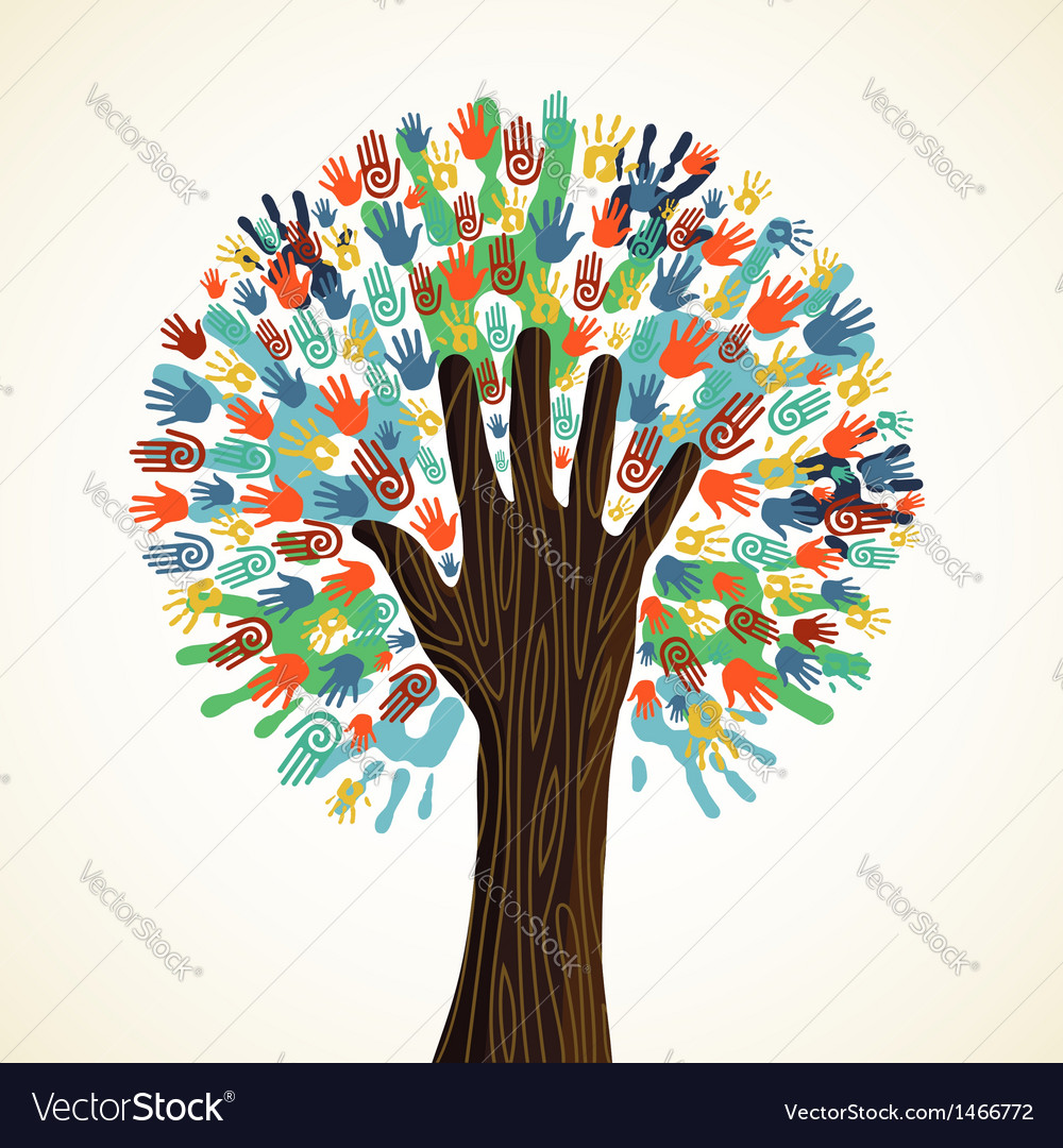 Isolated diversity tree hands vector | Price: 1 Credit (USD $1)