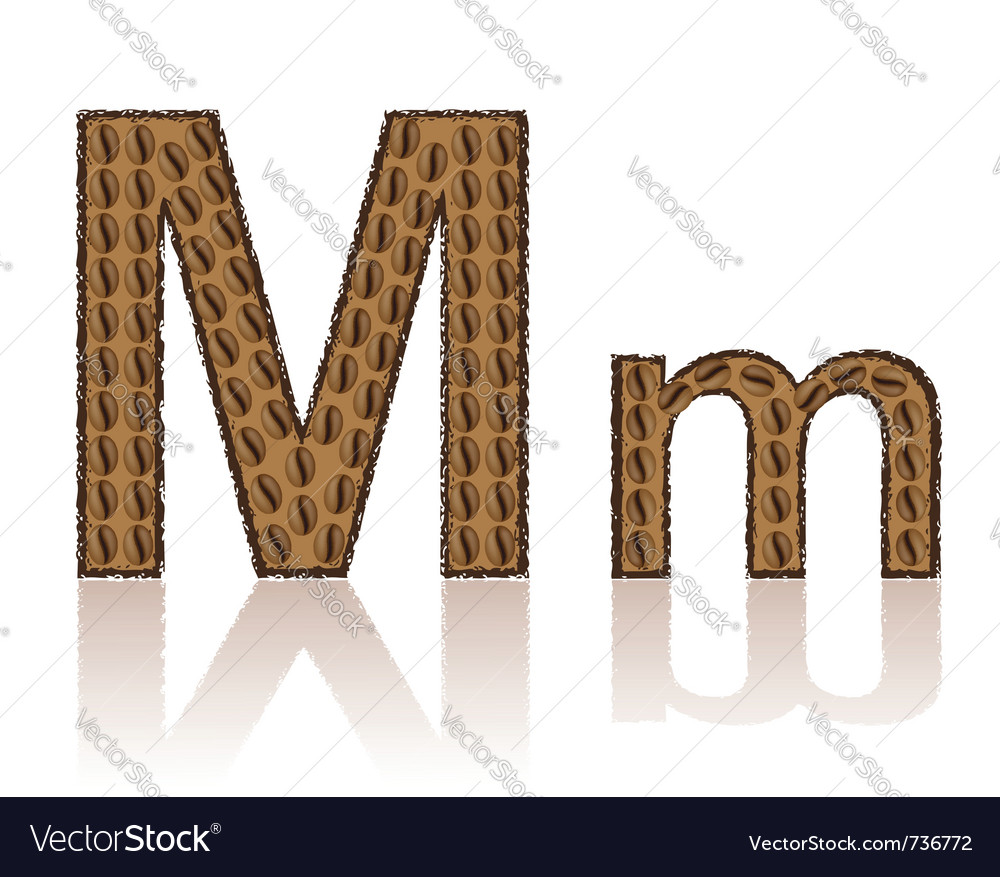 Letter m is made grains of coffee isolated on whit vector | Price: 1 Credit (USD $1)