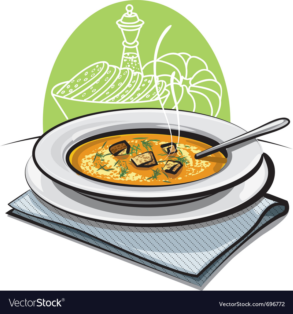 Pumpkin soup with croutons vector | Price: 3 Credit (USD $3)