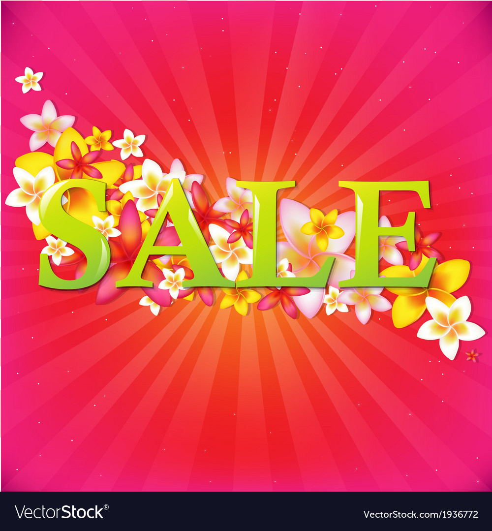 Sale poster with flowers and sunburst vector | Price: 1 Credit (USD $1)