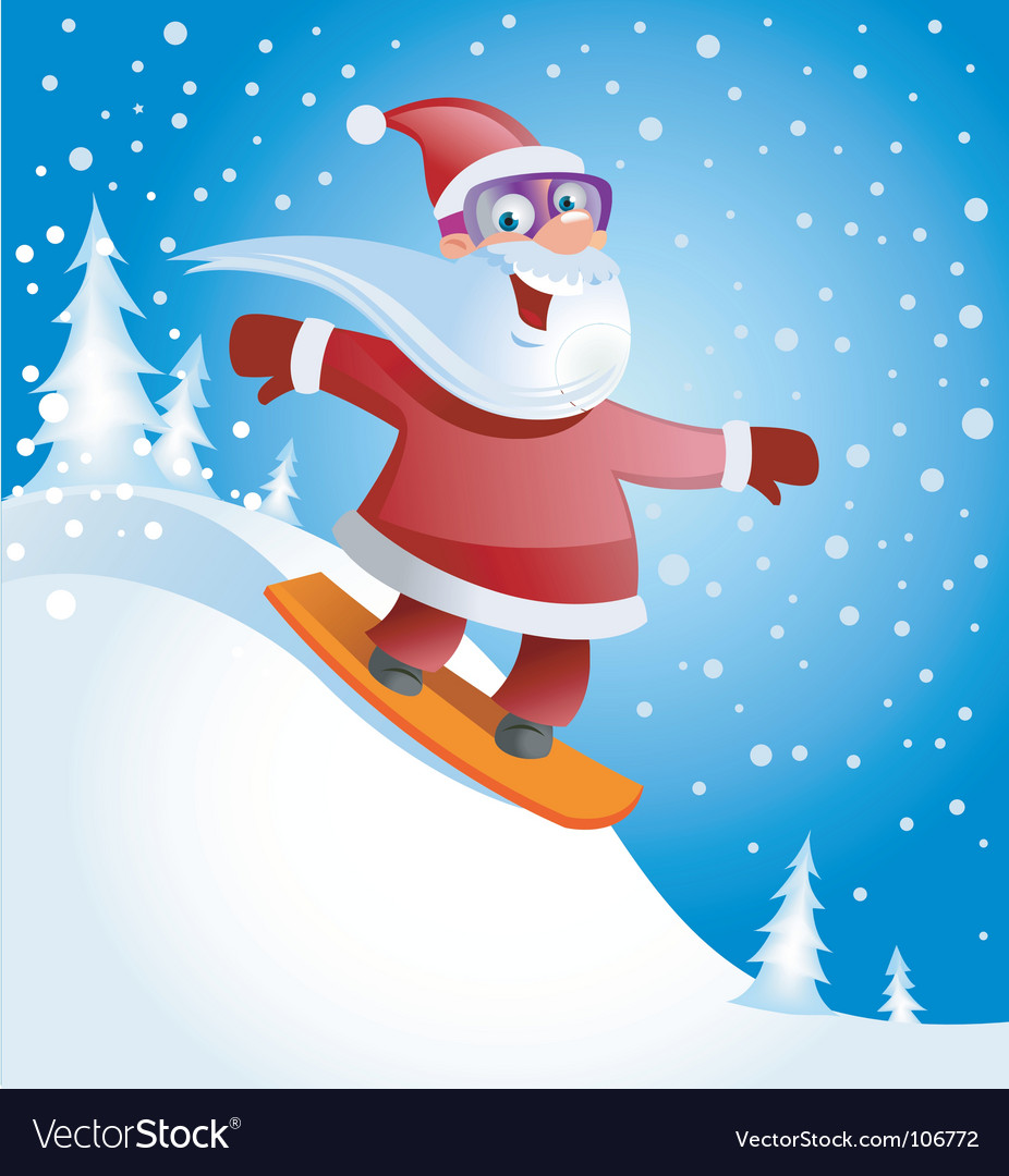 Santa on snowboard vector | Price: 1 Credit (USD $1)