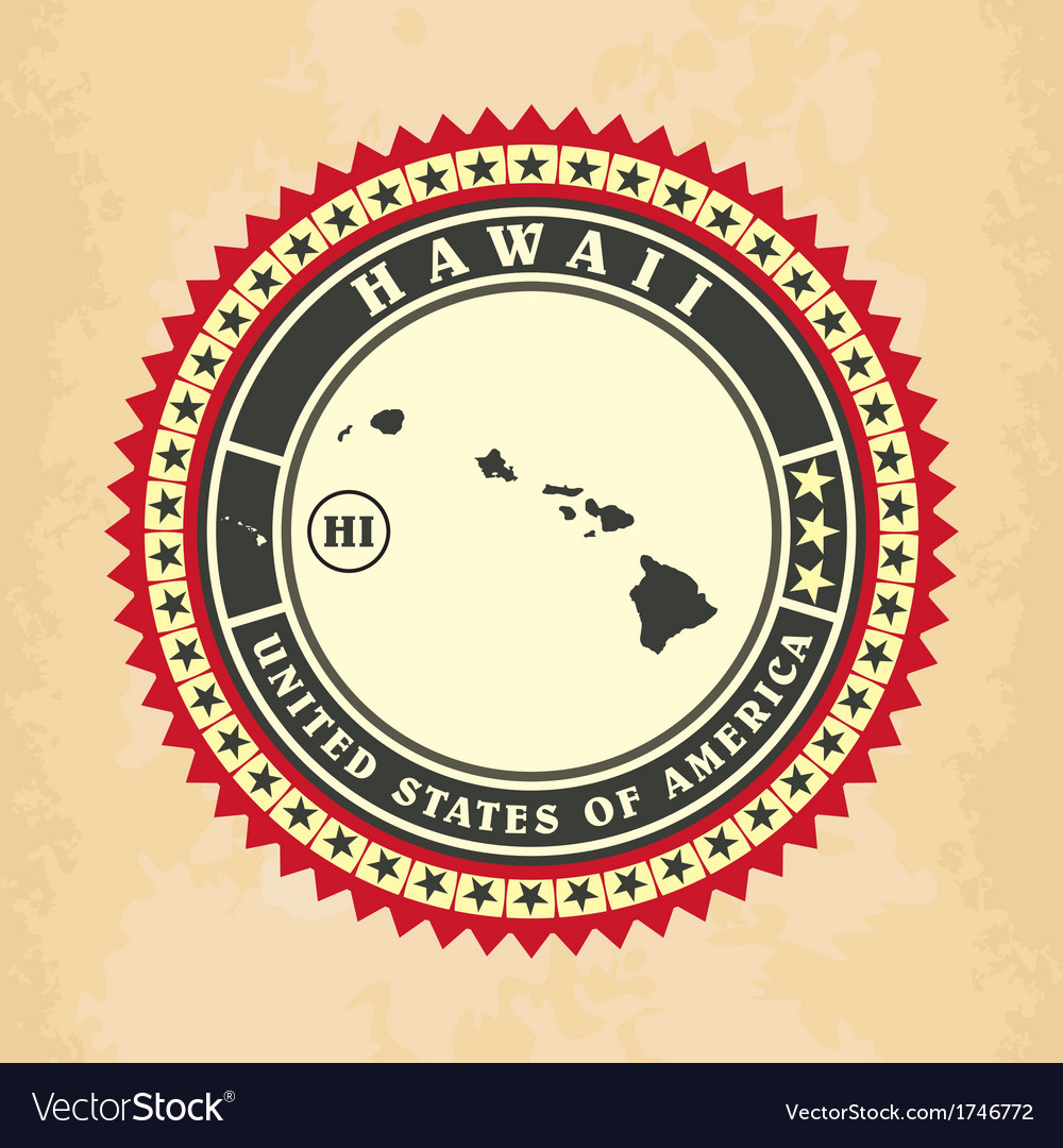 Vintage label-sticker cards of hawaii vector | Price: 1 Credit (USD $1)