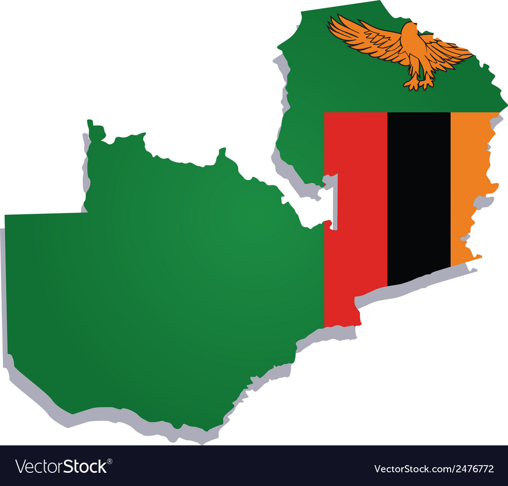 Zambia africa map flag vector | Price: 1 Credit (USD $1)