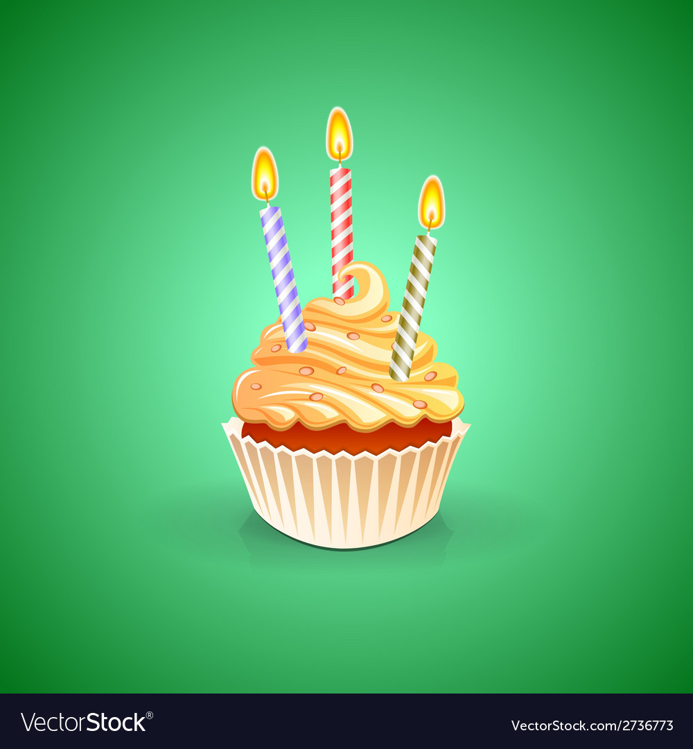 Birthday greeting card with cupcake vector | Price: 1 Credit (USD $1)