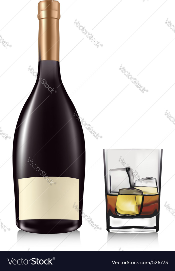Bottle and glass vector | Price: 3 Credit (USD $3)