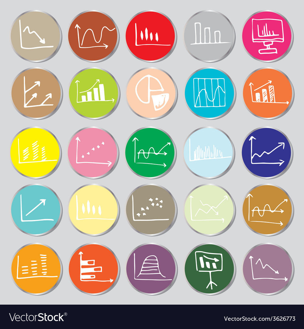 Draw flat color style business graph icon set vector | Price: 1 Credit (USD $1)
