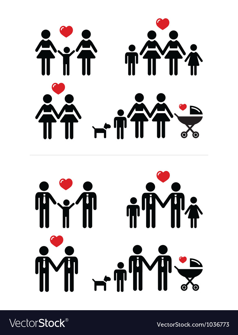 Gay lesbian couples and family with children icon vector | Price: 1 Credit (USD $1)