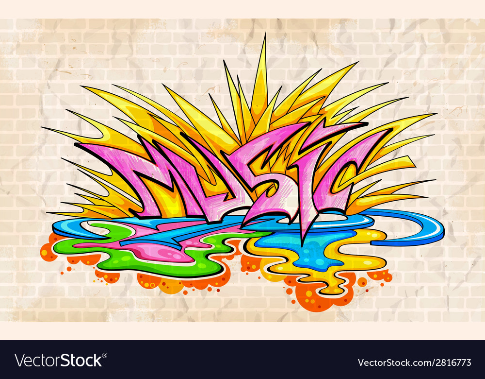 Graffiti style music background vector | Price: 1 Credit (USD $1)