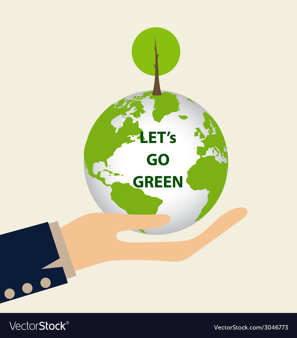 Green eco earth hand holding green earth with tree vector | Price: 1 Credit (USD $1)
