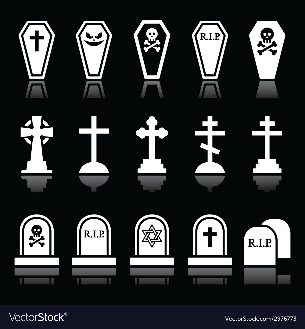 Halloween graveyard icons set - coffin cross vector | Price: 1 Credit (USD $1)