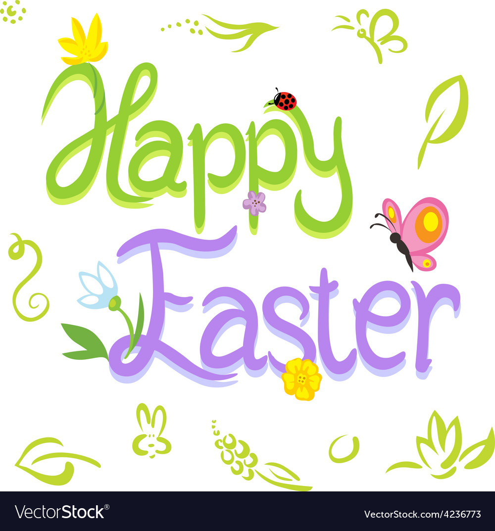 Happy easter calligraphy text with spring design vector | Price: 1 Credit (USD $1)
