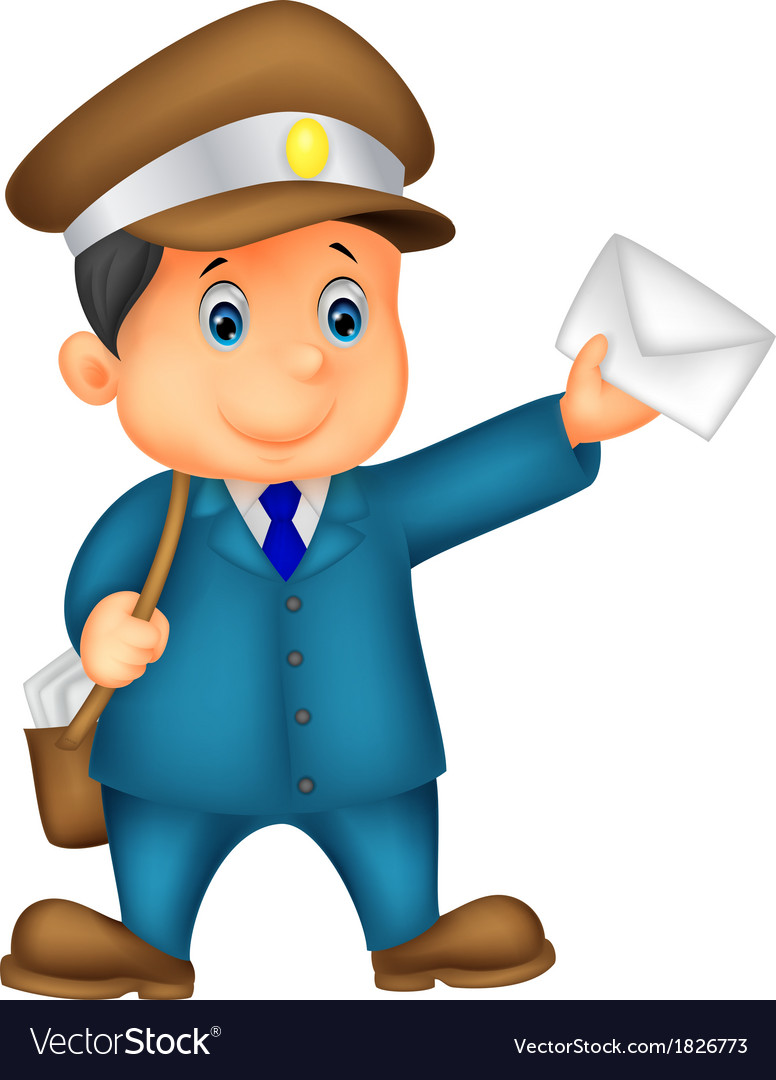 Mail cartoon carrier with bag and letter vector | Price: 1 Credit (USD $1)