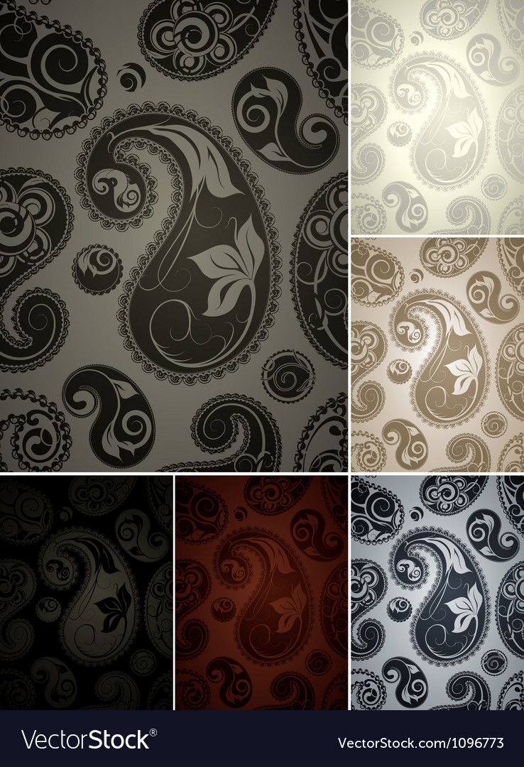Seamless wallpaper pattern set of six colors vector | Price: 1 Credit (USD $1)