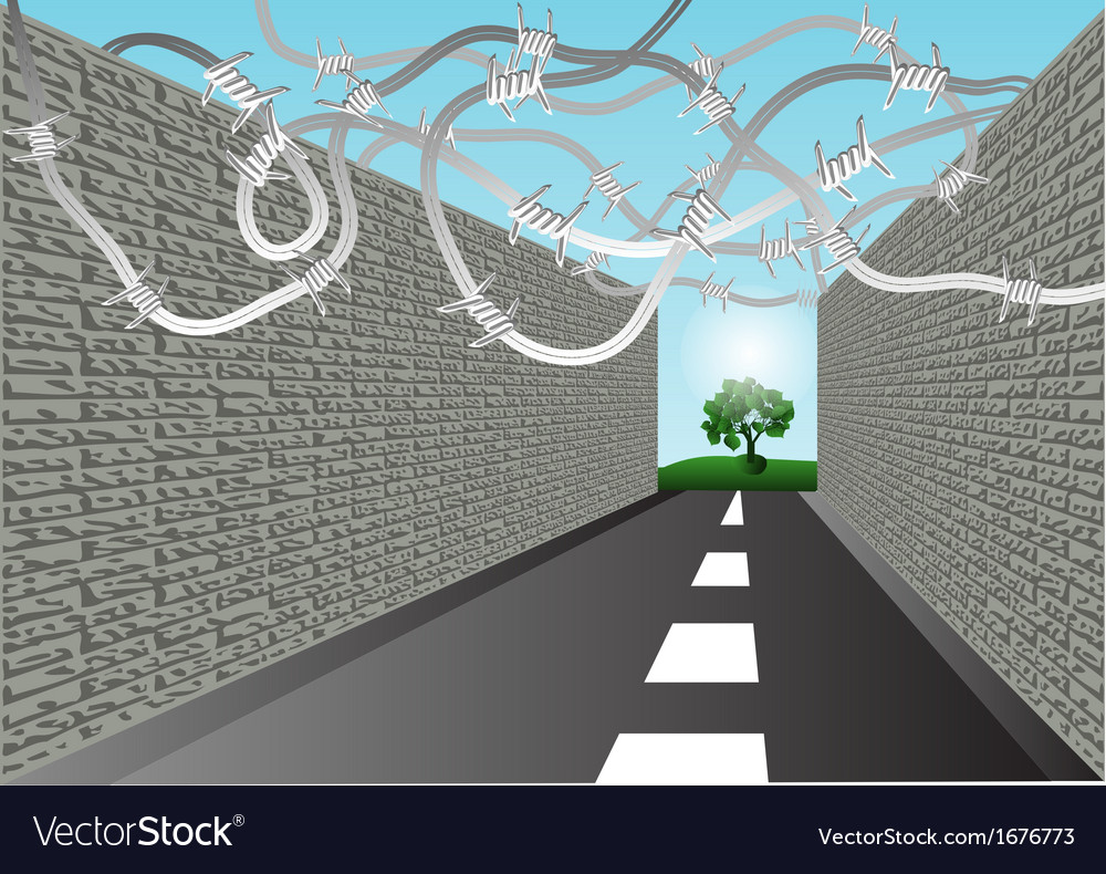 Street with barbed wire vector | Price: 1 Credit (USD $1)