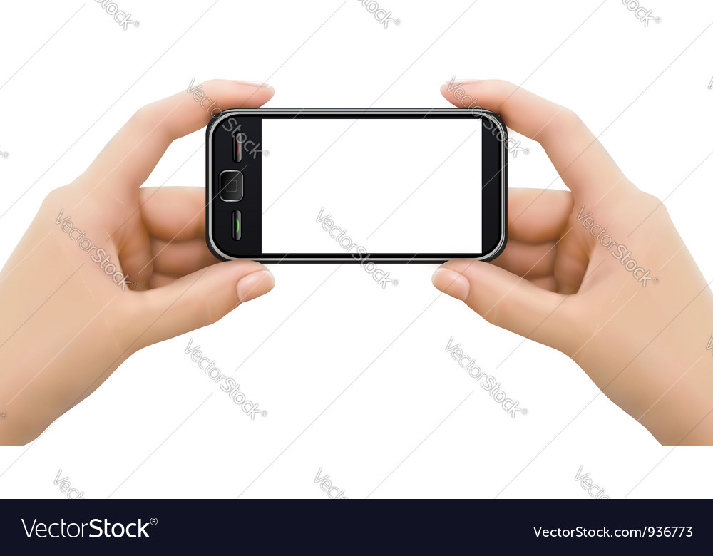 Two hands holding mobile smart phone vector | Price: 3 Credit (USD $3)