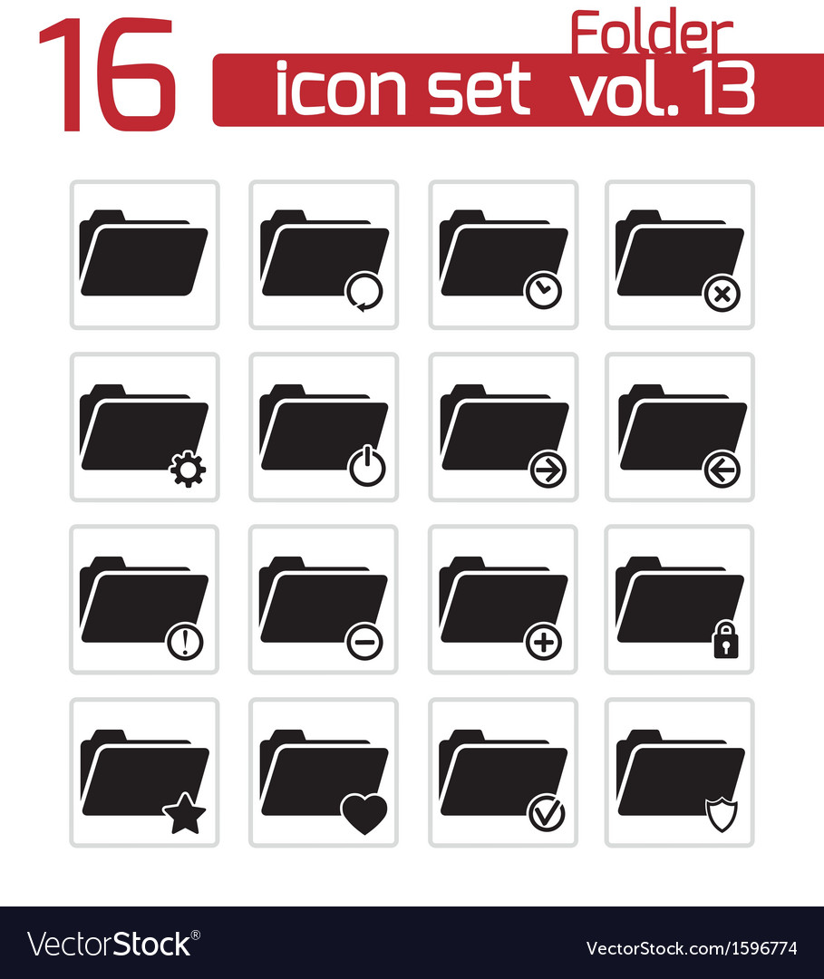 Black folder icon set vector | Price: 1 Credit (USD $1)