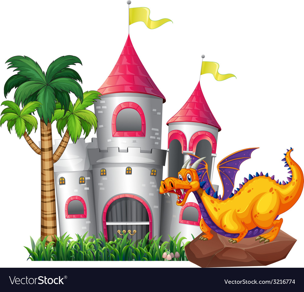 Dragon and castle vector | Price: 1 Credit (USD $1)