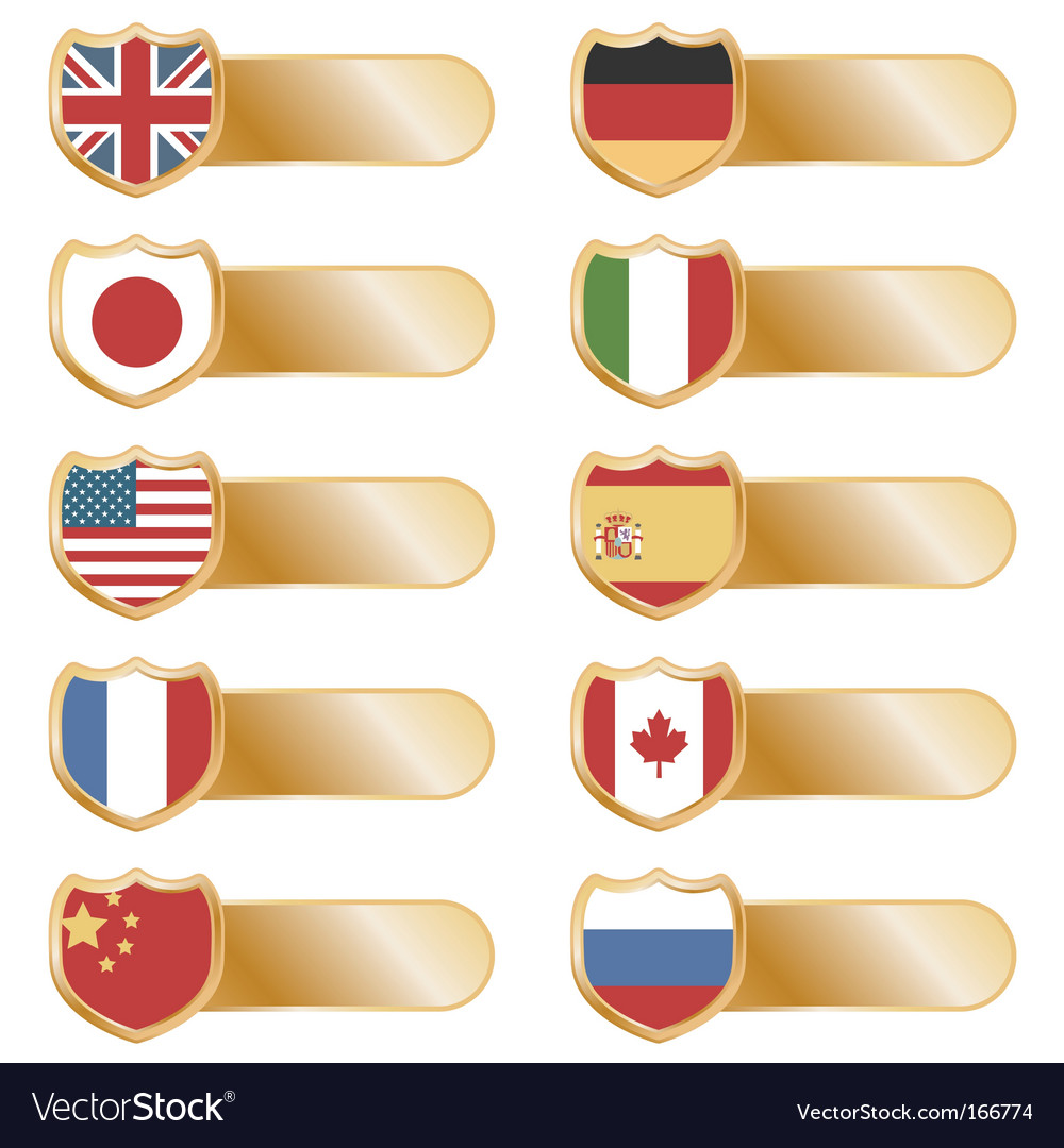 Gold flag tabs vector | Price: 1 Credit (USD $1)