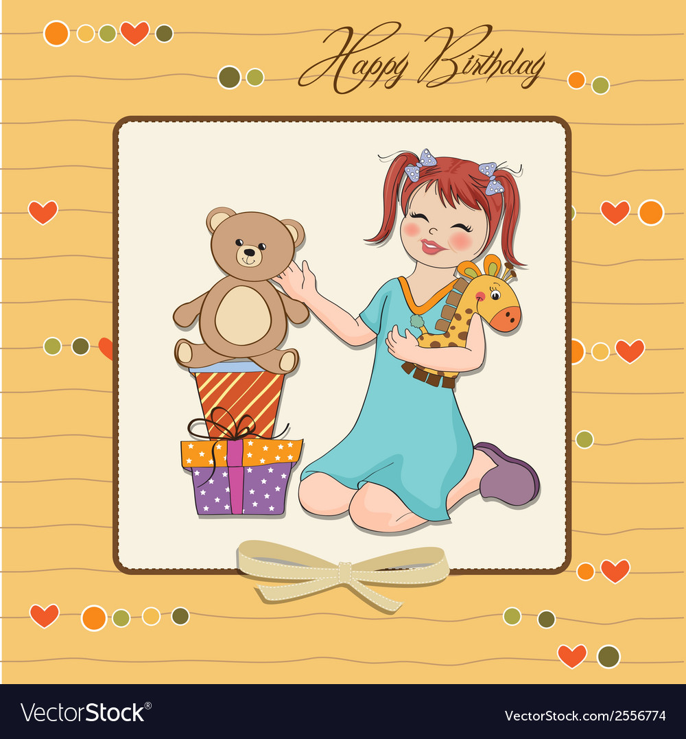 Little girl playing with her birthday gifts happy vector   Price: 1 Credit (USD $1)