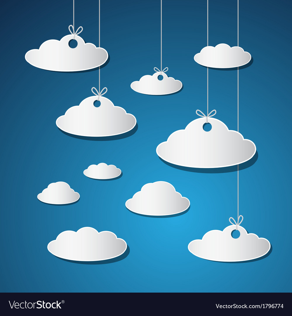 Paper clouds with strings on blue background vector | Price: 1 Credit (USD $1)