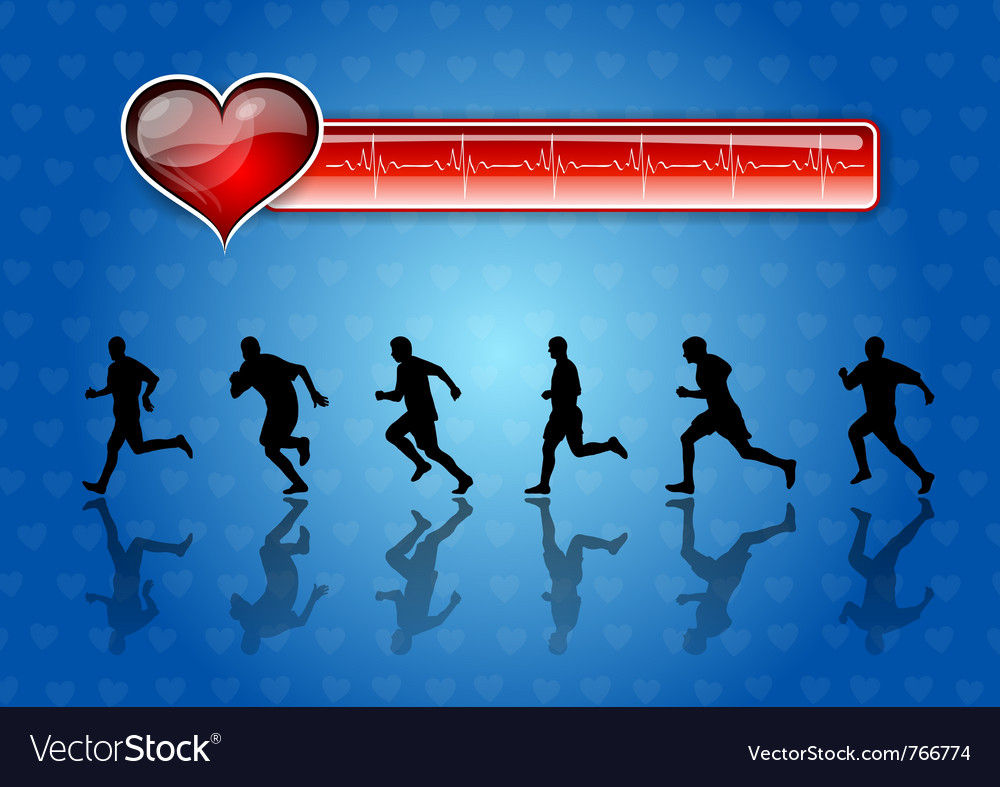 Runners and red health symbol vector | Price: 1 Credit (USD $1)