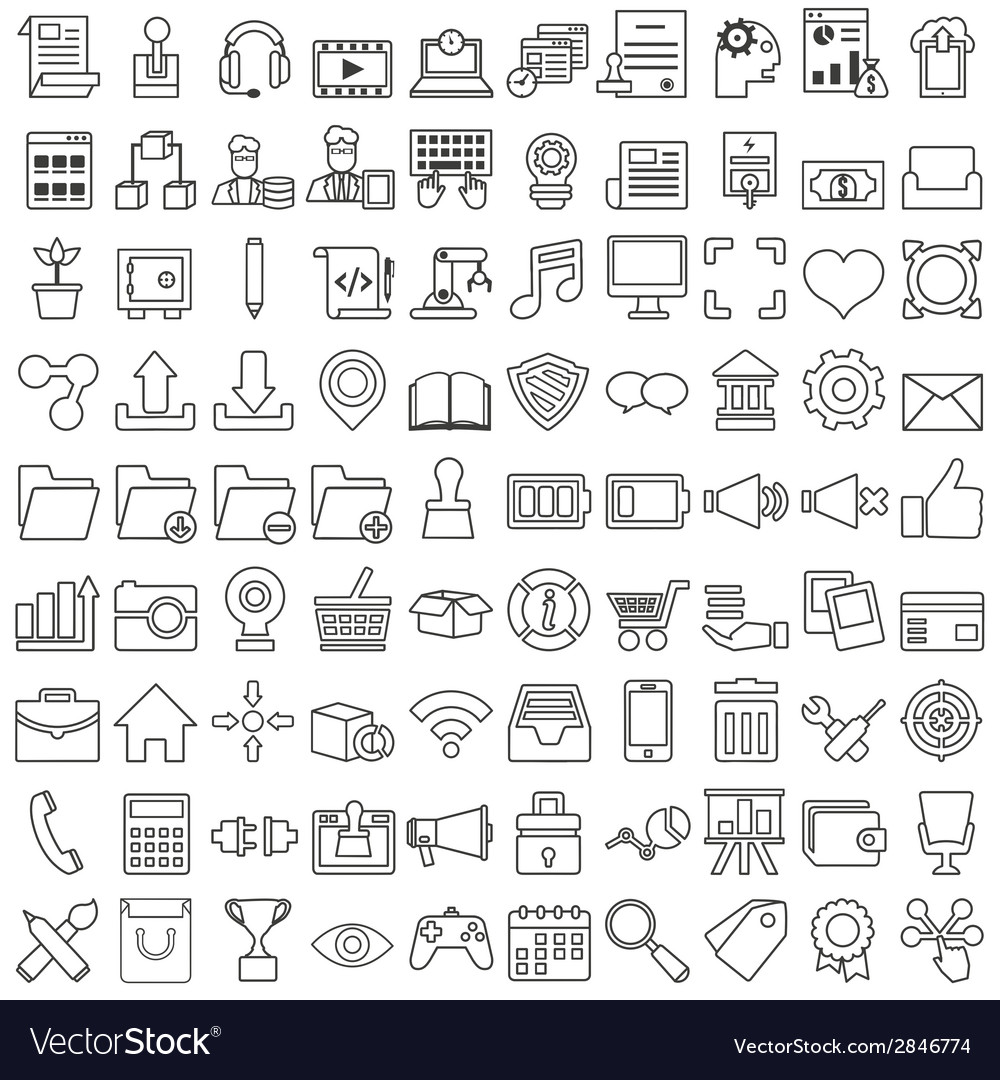 Set of business outline icons for design vector | Price: 1 Credit (USD $1)