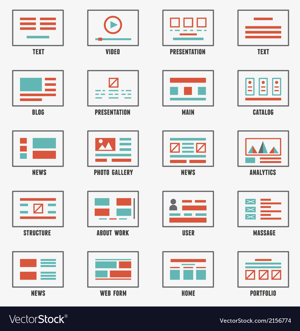 Set of sitemaps symbols for webpage vector | Price: 1 Credit (USD $1)