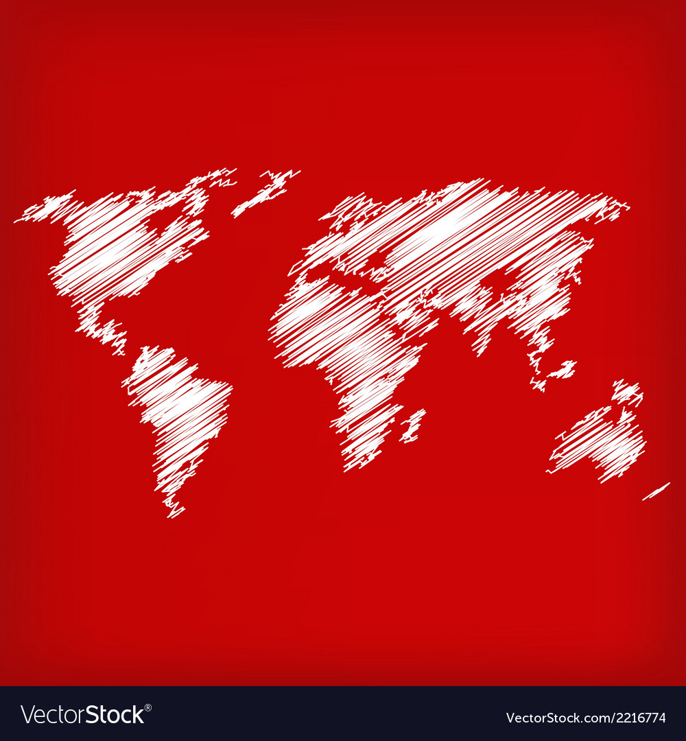 Sketch of world map on red vector | Price: 1 Credit (USD $1)