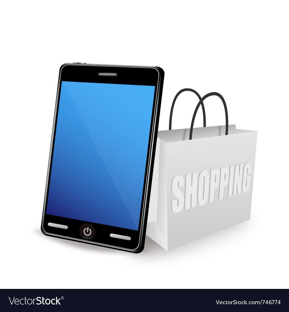 Smart phone and shopping bag vector | Price: 3 Credit (USD $3)