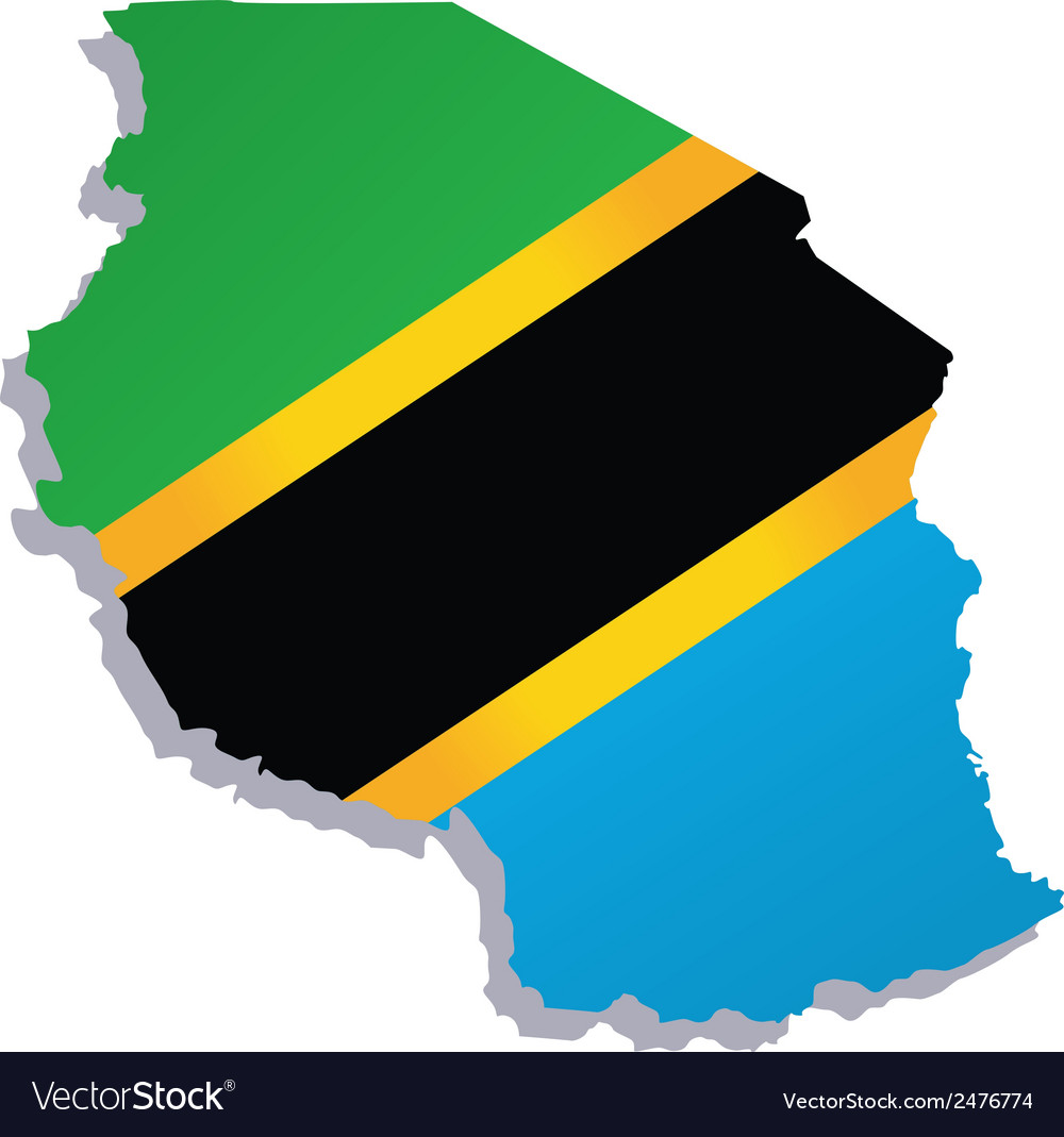 Tanzania africa map flag vector | Price: 1 Credit (USD $1)