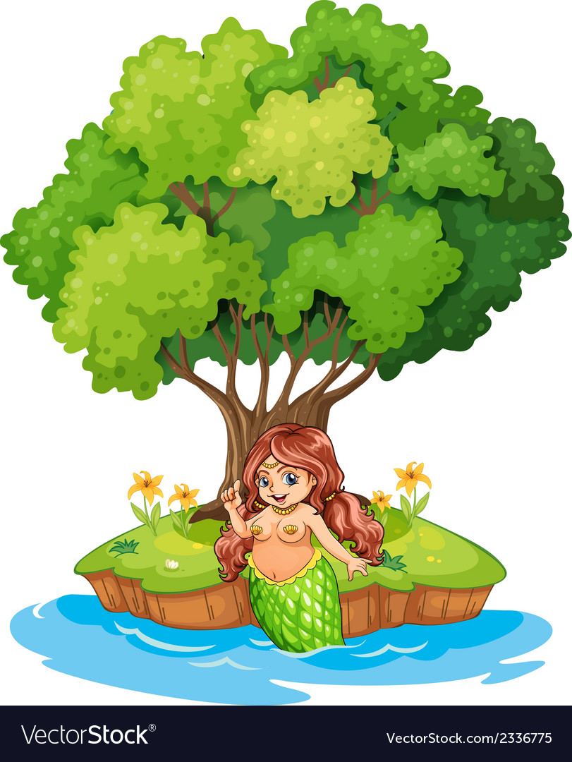 A mermaid resting in the island vector | Price: 3 Credit (USD $3)