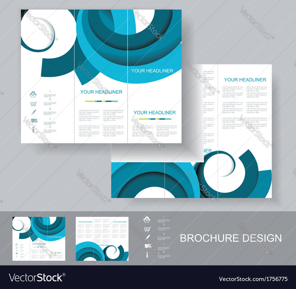 Brochure template design with blue elements vector | Price: 1 Credit (USD $1)