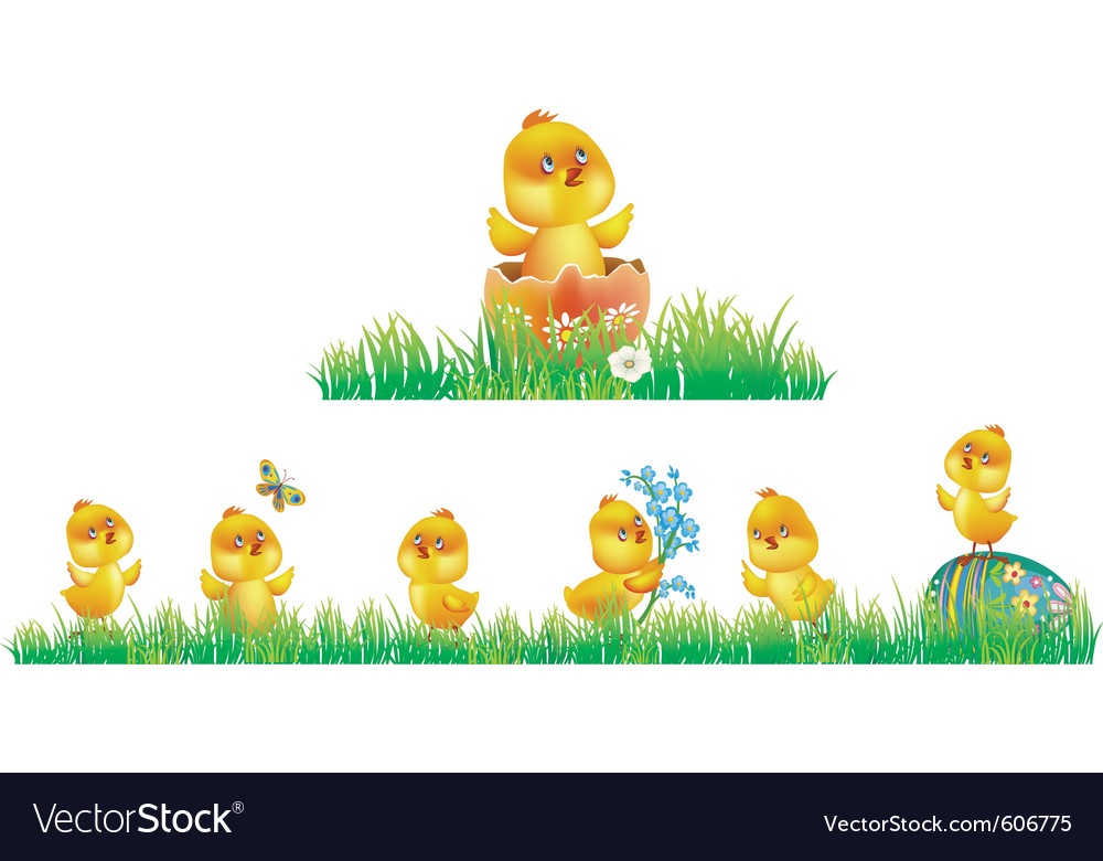 Chicken in grass vector | Price: 1 Credit (USD $1)