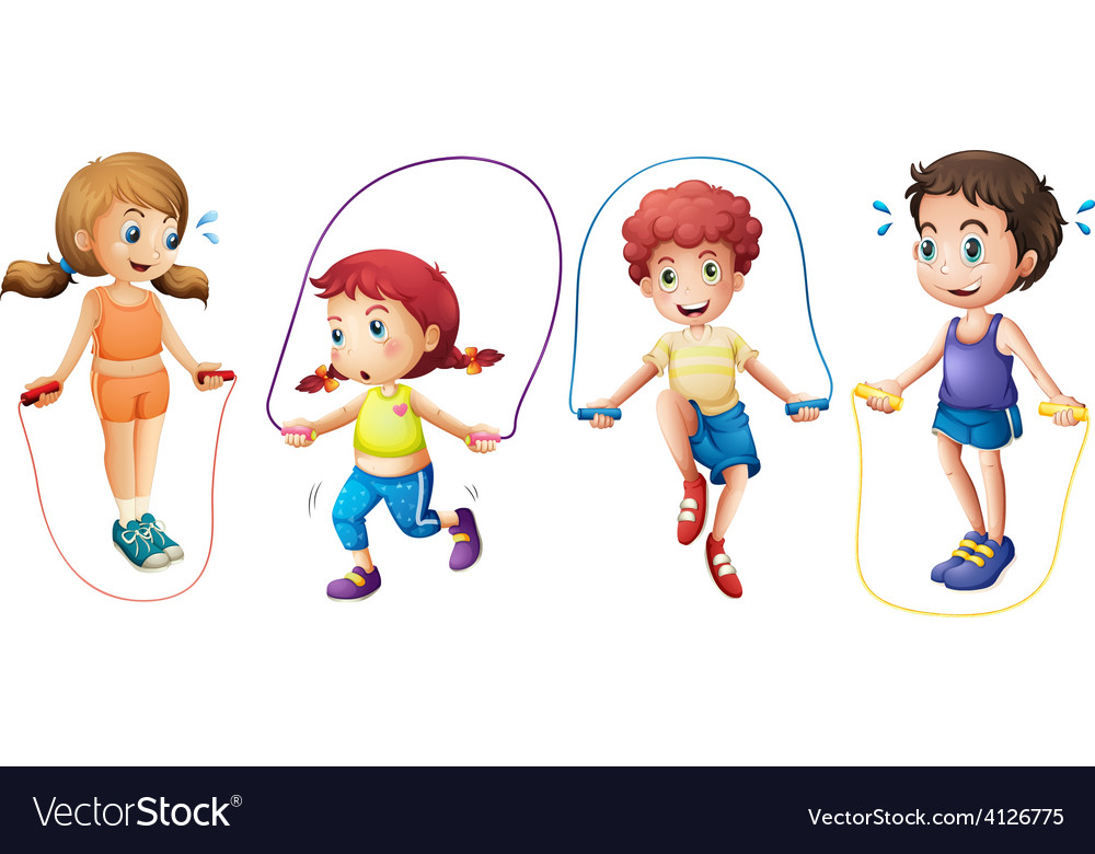Children and jumprope vector