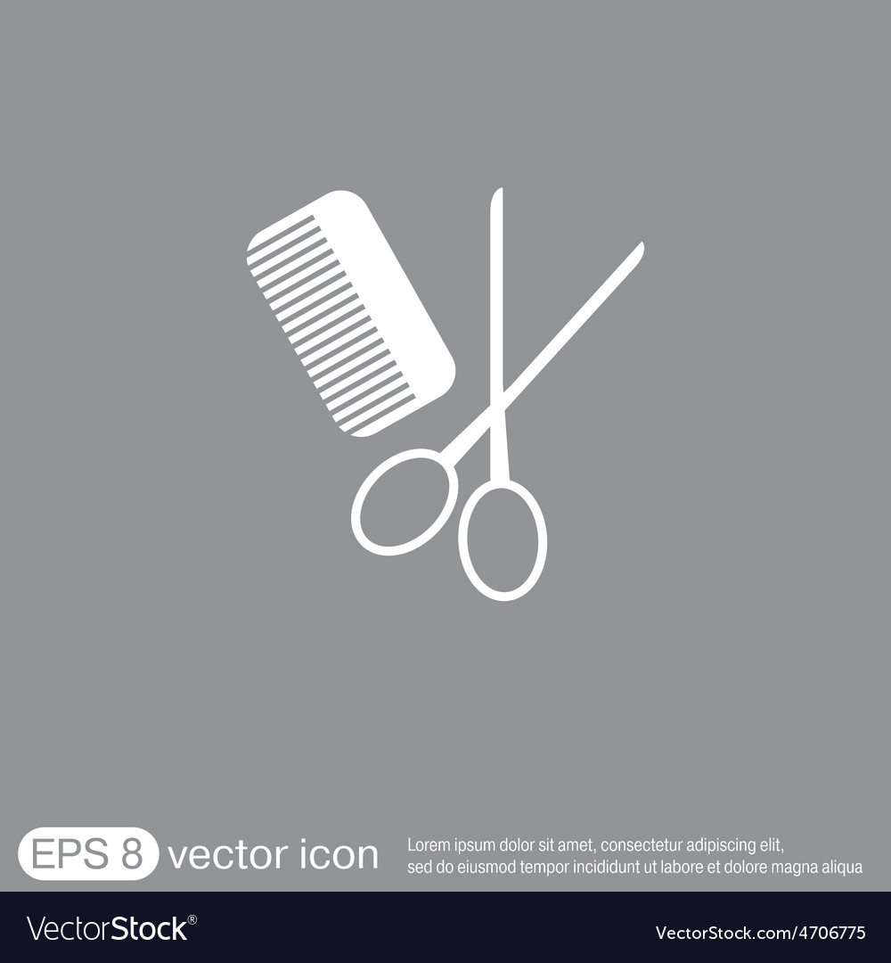 Comb scissors barbershop symbol of hair and beauty vector | Price: 1 Credit (USD $1)