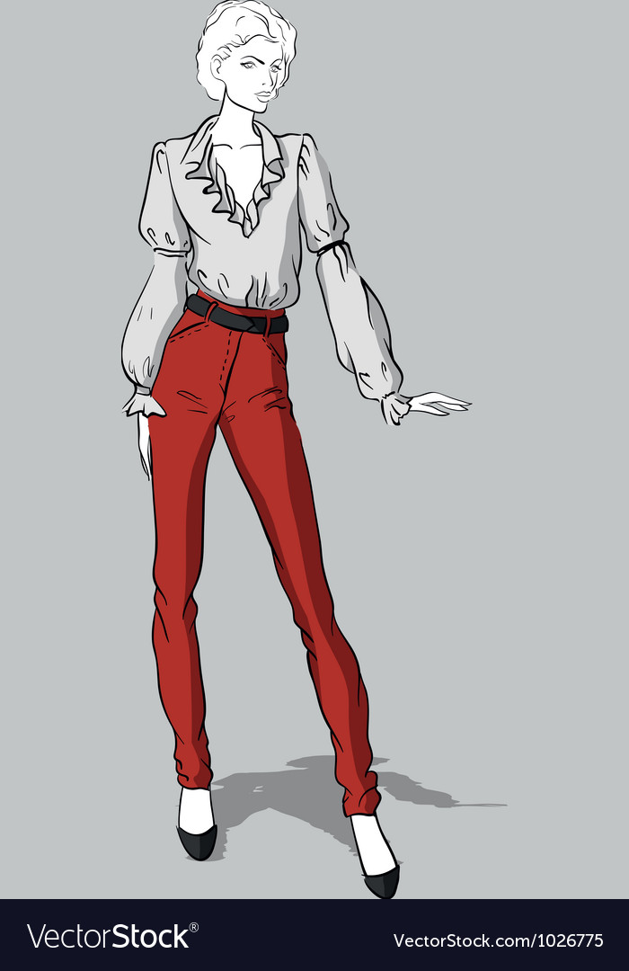 Girl in red jeans and blouse vector   Price: 3 Credit (USD $3)