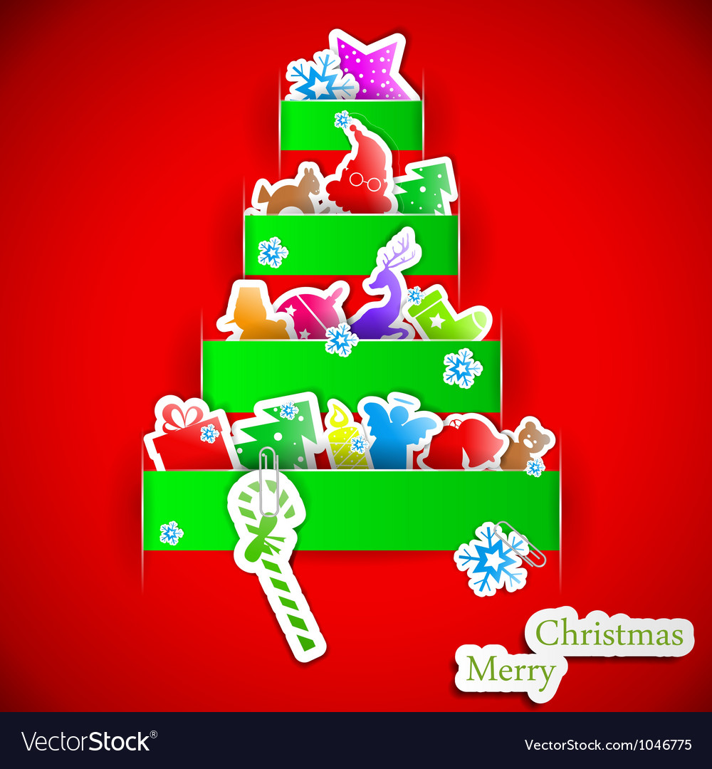 Green stripe christmas paper tree vector   Price: 1 Credit (USD $1)