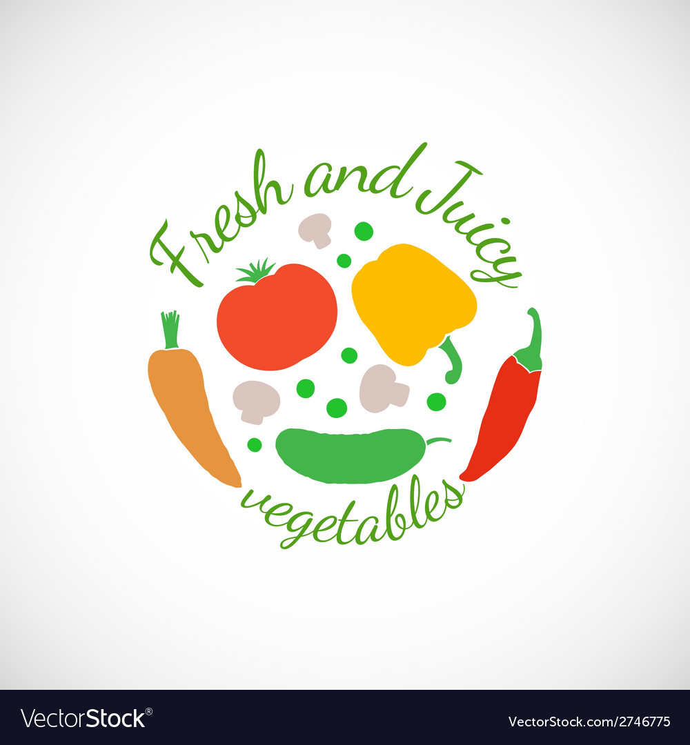 Juicy and fresh vegetables symbol icon or stamp vector | Price: 1 Credit (USD $1)