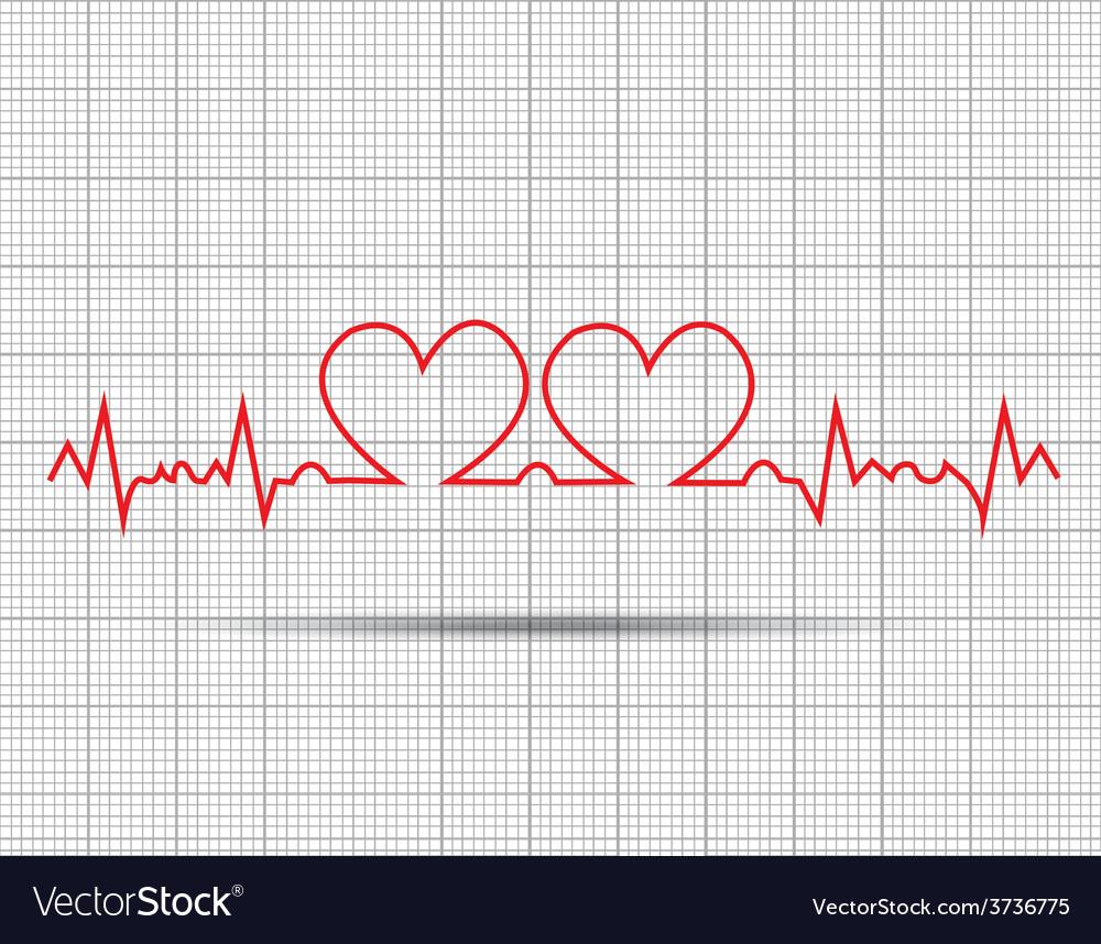 Red heart beats cardiogram vector   Price: 1 Credit (USD $1)