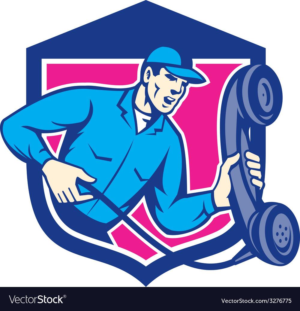Telephone repairman holding phone shield retro vector | Price: 1 Credit (USD $1)