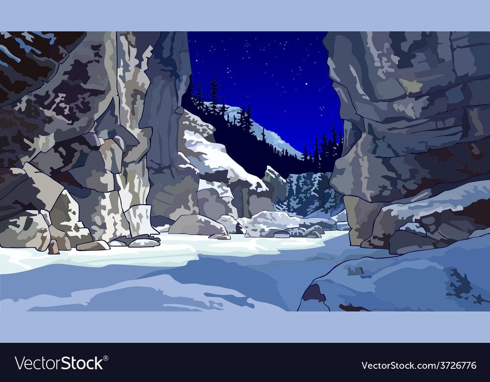 Cliffs in winter vector | Price: 3 Credit (USD $3)