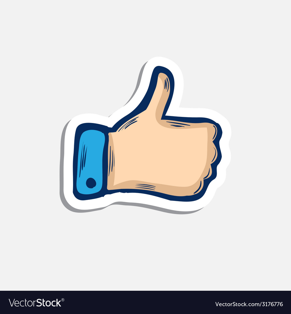 Doddle blue hand or thumb up icon with shadow vector | Price: 1 Credit (USD $1)